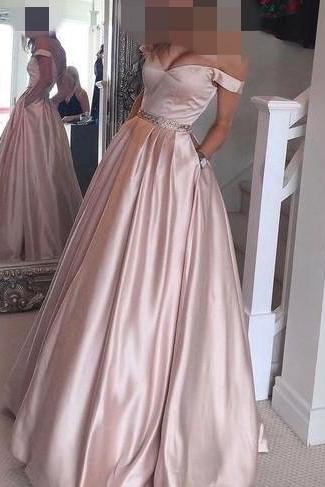 Prom Dress 2017, Senior Prom Dress, Off the Shoulder Prom Dress, Ball Gown, Pearl Pink Prom Dress, A-line Long Prom Gown, Teens Party Dress, Long Evening Dress