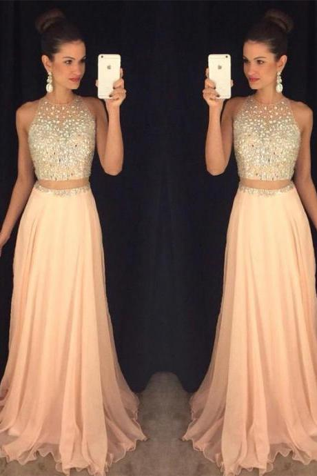 Sexy Peach Prom Dress, Beading Prom Dress,2016 Prom Dress, Two Pieces Prom Dress, Long Evening Gown, Prom Dresses for Teens, Sexy Evening Gowns